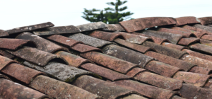 close-up of old slate roof